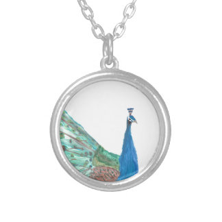 Peacock Round Pendant Necklace