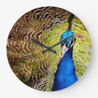Peacock round wall clock