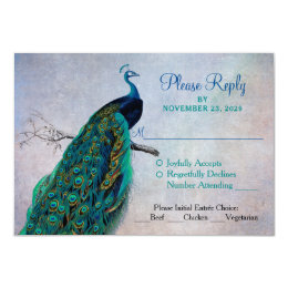 Peacock RSVP Wedding Response Card w/ Meal Options