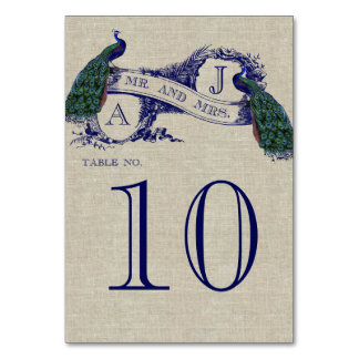 Peacock Rustic Wedding Table Number Card
