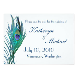 """Peacock Save the Date Announcement 5"""" X 7"""" Invitation Card"""
