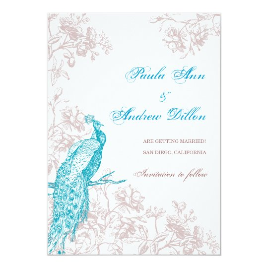 Peacock Save the Date Card