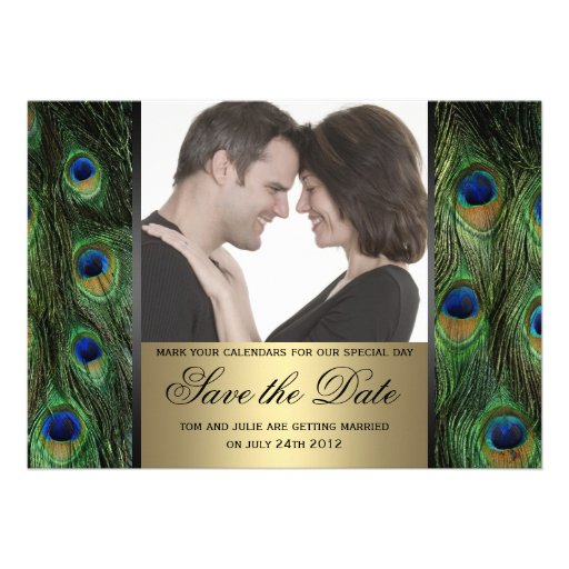 Peacock Save the Date Photo Invite