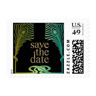 Peacock Save the Date Set 1104 Postage