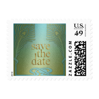 Peacock Save the Date Set 1104a Postage Stamp