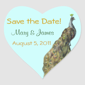 Peacock Save the Date Sticker Tag