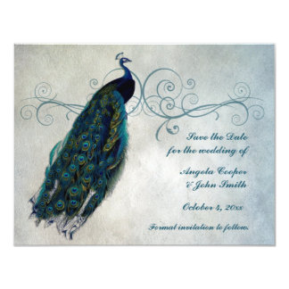 Peacock Scroll Save the Date Card