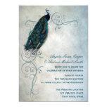 "Peacock Scroll Wedding 5"" X 7"" Invitation Card"