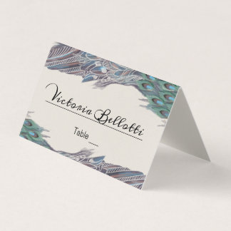 Peacock Seating Place Card - kraft paper