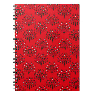Peacock silhouette stylish red pattern notebook