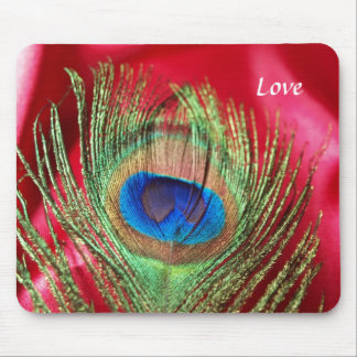 Peacock Silky Red Still Life Mouse Pad