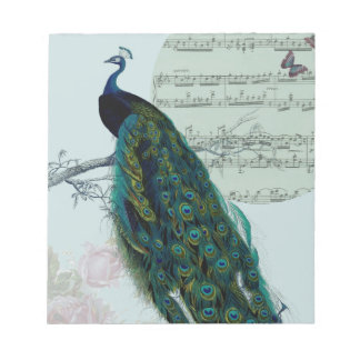 Peacock Song - Vintage inspired Note Pad