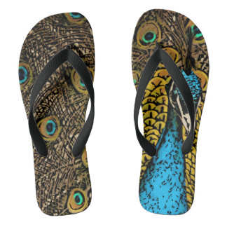 Peacock Splendor Illustration Flip Flops