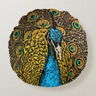 Peacock Splendor Illustration Round Pillow
