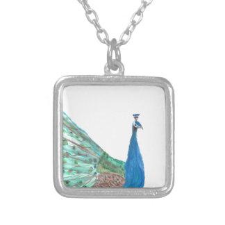 Peacock Square Pendant Necklace