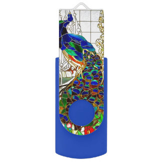 Peacock Stained Glass Key Chain Photo Files Music Swivel USB 2.0 Flash Drive