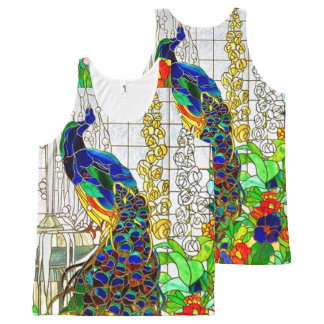 Peacock Stained Glass Window All Over Print Top