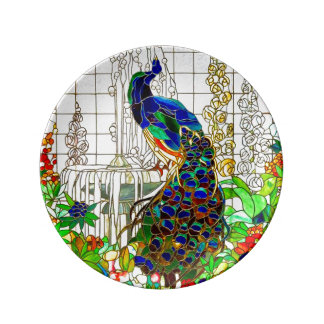 Peacock Stained Glass Window Art Plate