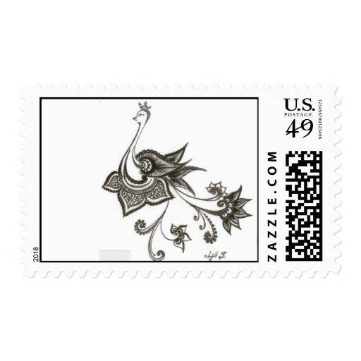 Peacock Stamp B/W