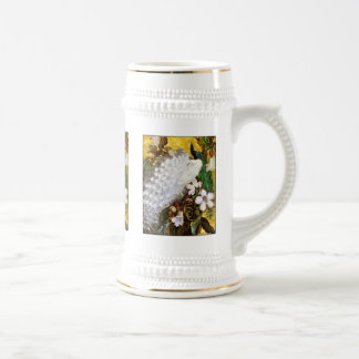 Peacock Stein:  White and Blue Peacock Beer Stein