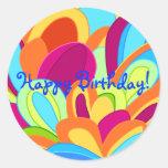 Peacock Stickers- Happy Birthday Classic Round Sticker
