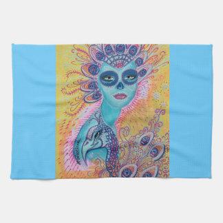 Peacock Sugar Skull Art Hand Towel