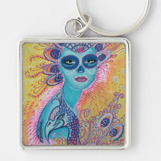 Peacock Sugar Skull Art Keychain