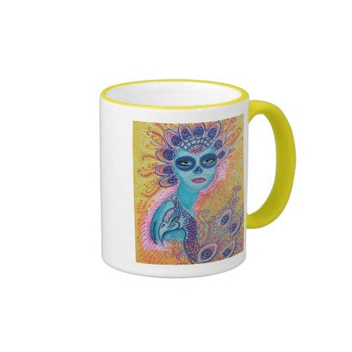 Peacock Sugar Skull Art Coffee Mug