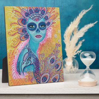 Peacock Sugar Skull Art Plaque