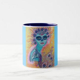 Peacock Sugar Skull Art Two-Tone Coffee Mug