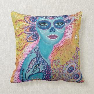 Peacock Sugar Skull Pillow