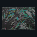 """Peacock Swirl Kitchen Towel<br><div class=""""desc"""">An attractive abstract design featuring shades of teal,  green,  purple,  gray and black.</div>"""
