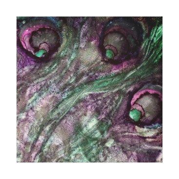 Art Themed Peacock Swirl Teal and Purple Wall Art