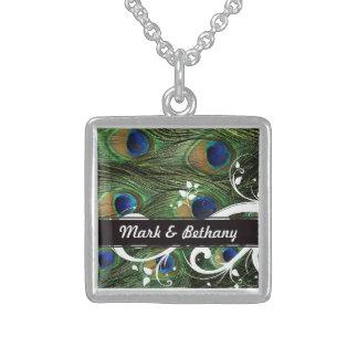 Peacock Swirls Square Pendant Necklace