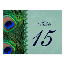 peacock table numbers postcards