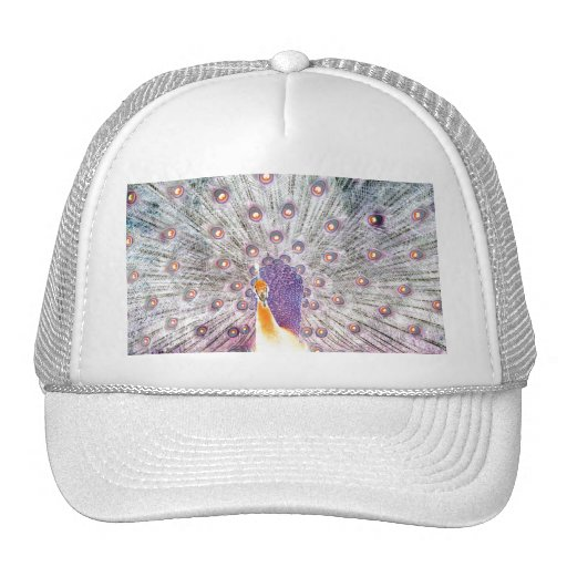 Peacock Tail and Head Inverted Colours Photo Trucker Hats
