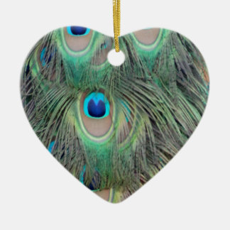 Peacock Tail Feather Large Eyes Ceramic Ornament