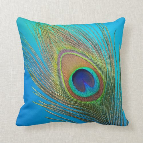 Peacock Tail Feather Throw Pillow