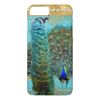Peacock Tail Feathers Gold Glitter Baroque Jewel iPhone 7 Plus Case