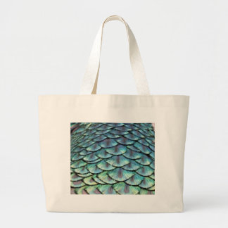 Peacock Tail Feathers Large Tote Bag