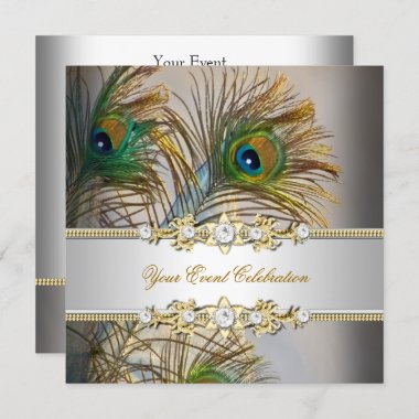 Peacock Teal Blue Gold Elegant Party Invitation
