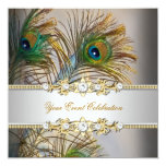 """Peacock Teal Blue Gold Elegant Party 5.25"""" Square Invitation Card"""