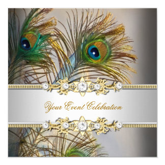 Peacock Teal Blue Gold Elegant Party 5.25x5.25 Square Paper Invitation Card