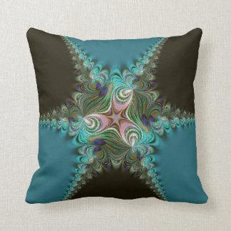 Peacock Teal+Green Fractal Twist Cushion