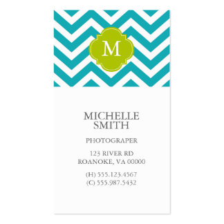 Peacock Teal & Green Zigzags Pattern Monogram Business Card Template