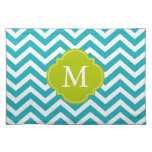 Peacock Teal & Green Zigzags Pattern Monogram Place Mat
