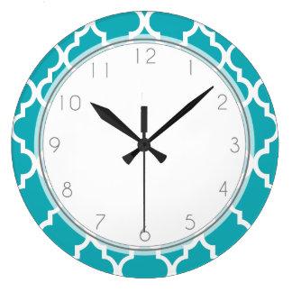 Peacock Teal Quatrefoil Pattern Large Clock