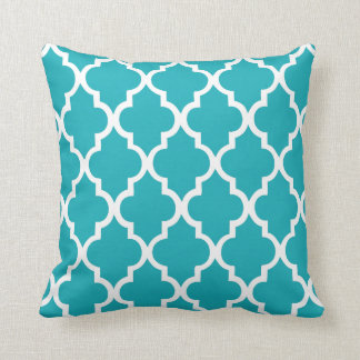 Peacock Teal Quatrefoil Pattern Pillow