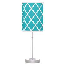 Peacock Teal Quatrefoil Pattern Table Lamp