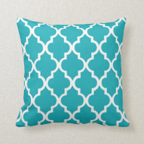 Peacock Teal Quatrefoil Pattern Throw Pillow